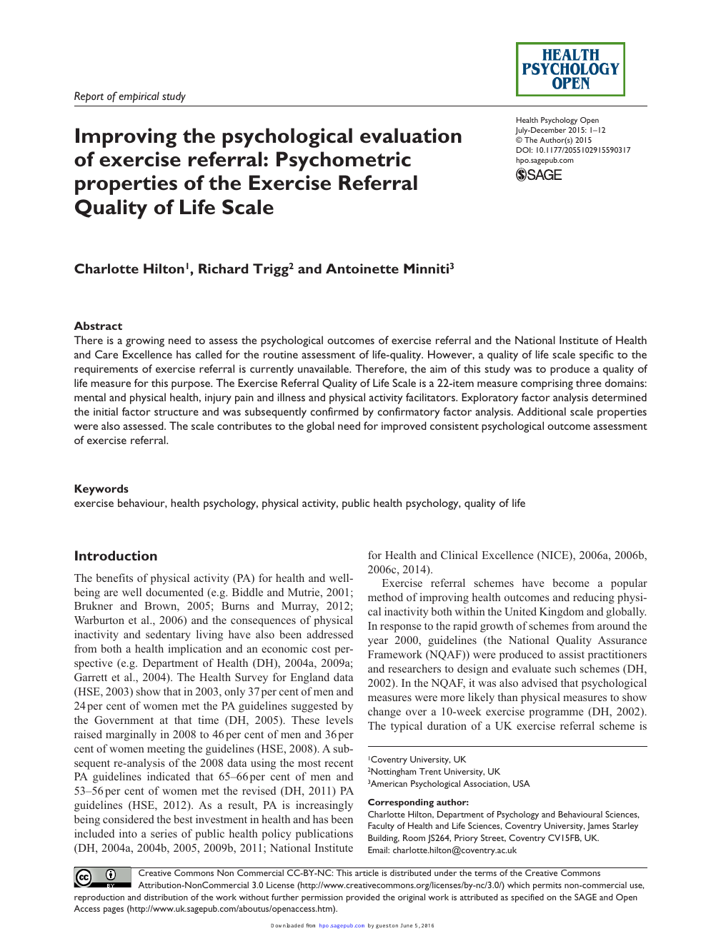 Improving the psychological evaluation of exercise referral