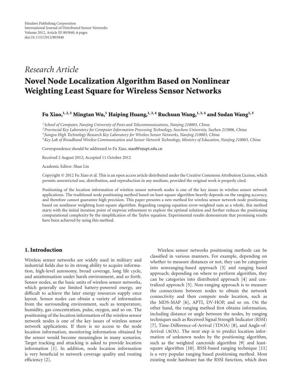 Novel Node Localization Algorithm Based on Nonlinear