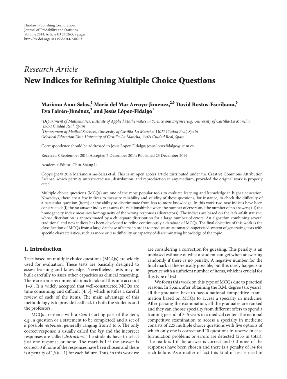 New Indices for Refining Multiple Choice Questions – topic