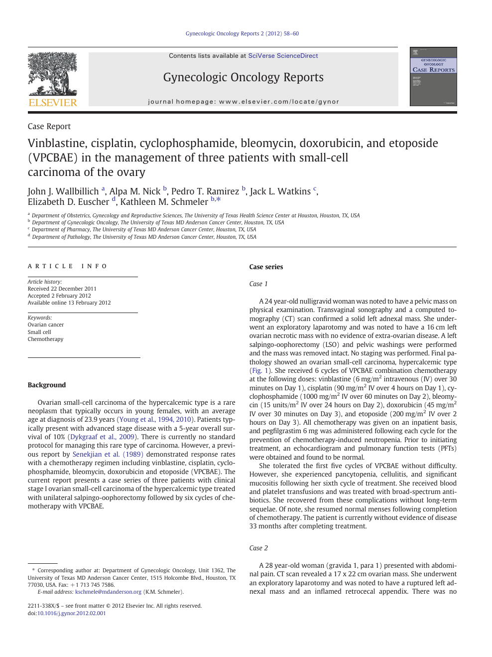 Vinblastine Cisplatin Cyclophosphamide Bleomycin Doxorubicin And Etoposide Vpcbae In The Management Of Three Patients With Small Cell Carcinoma Of The Ovary Topic Of Research Paper In Clinical Medicine Download Scholarly Article Pdf
