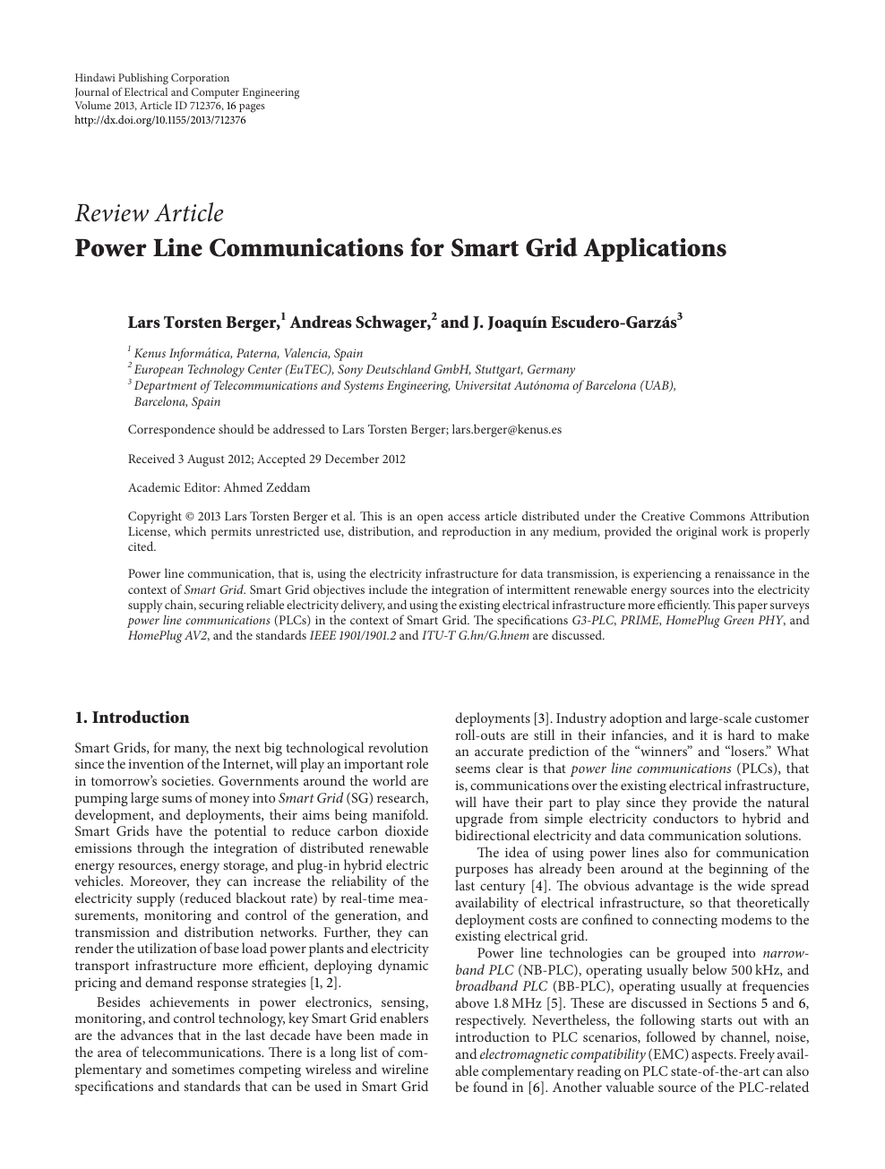 Power Line Communications for Smart Grid Applications – topic of