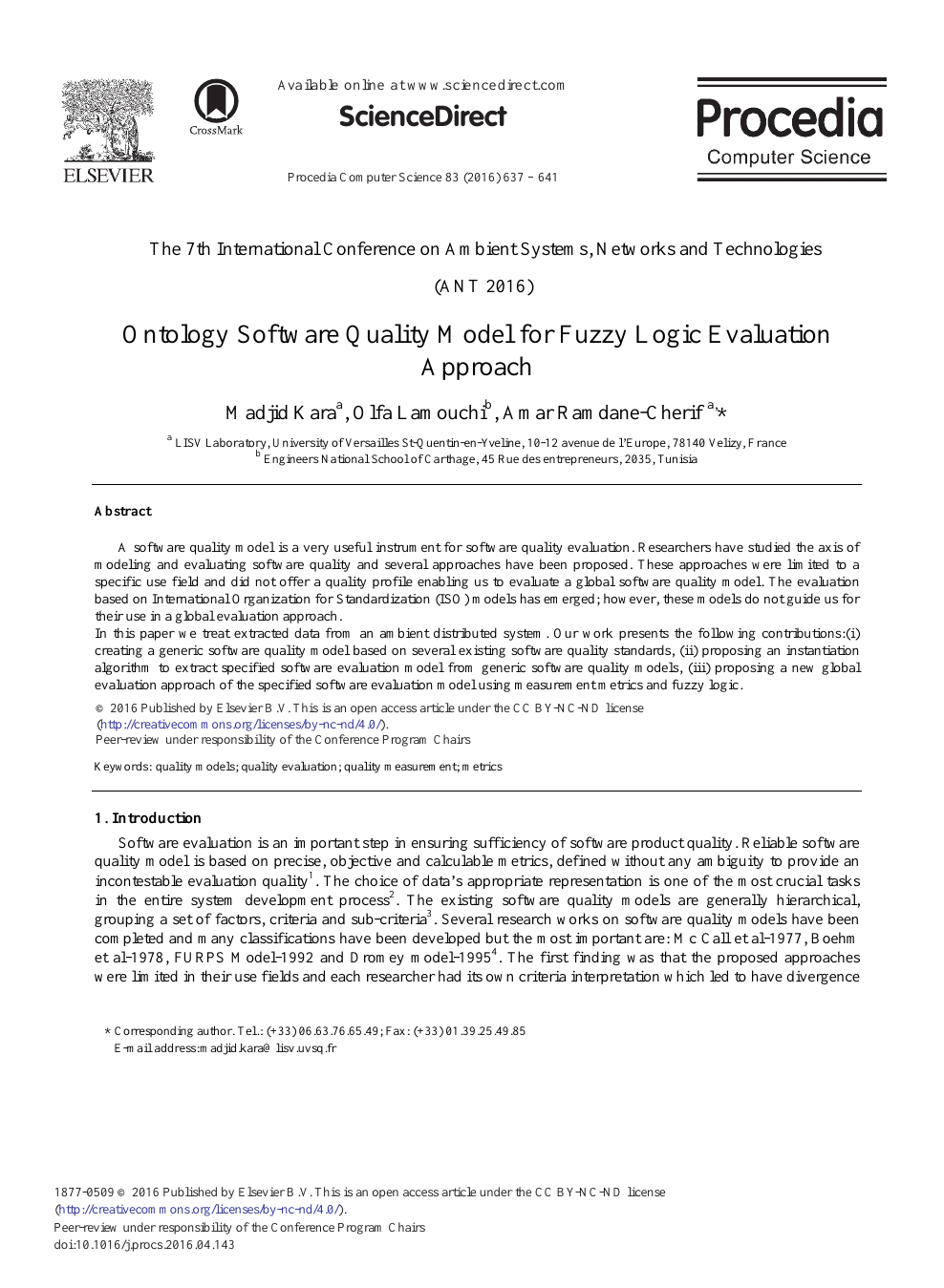 Ontology Software Quality Model for Fuzzy Logic Evaluation