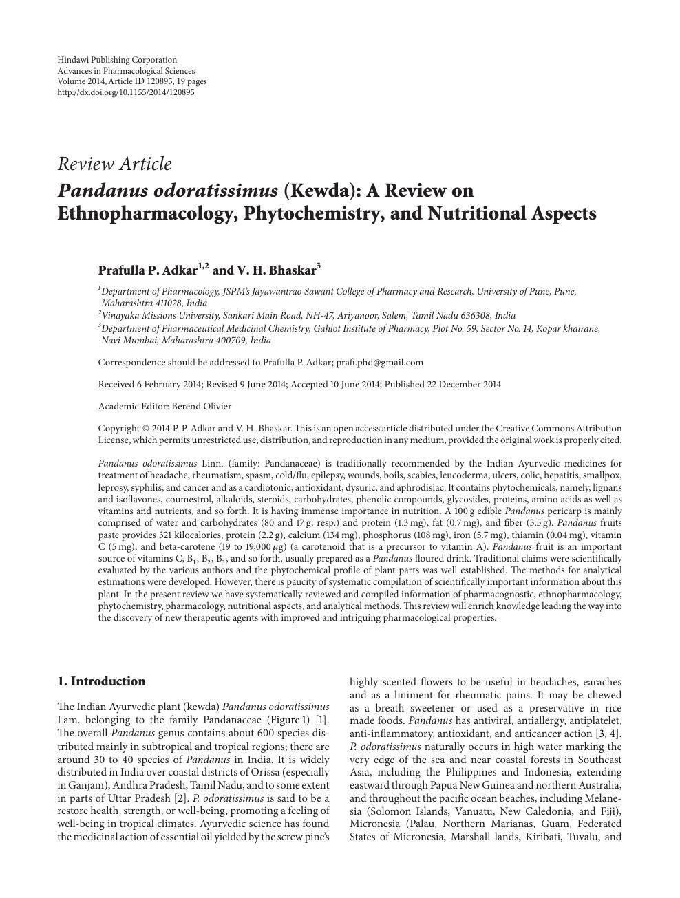 Pandanus odoratissimus (Kewda): A Review on Ethnopharmacology
