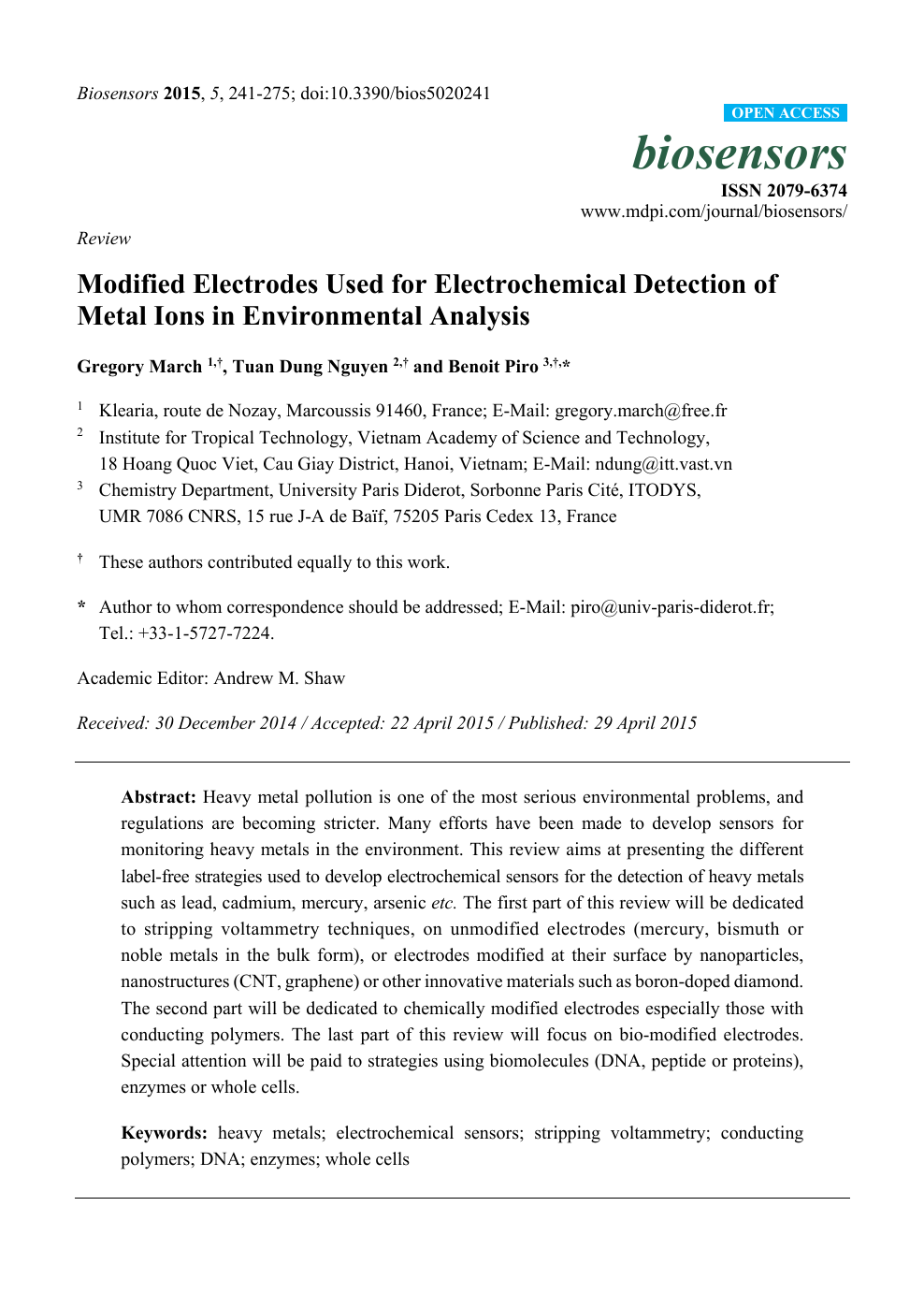Modified Electrodes Used for Electrochemical Detection of