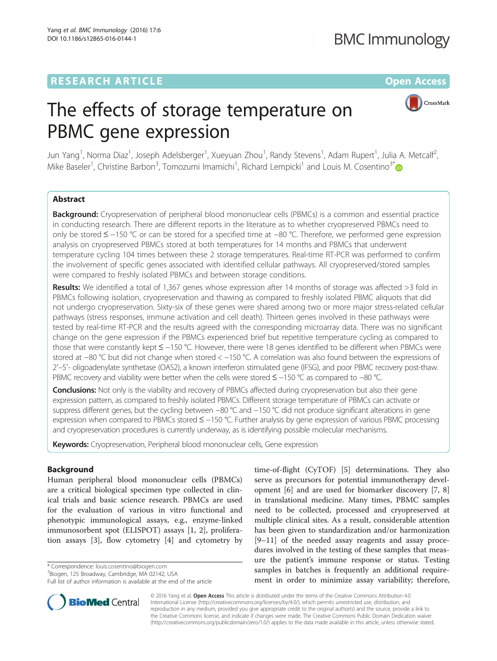 The effects of storage temperature on PBMC gene expression
