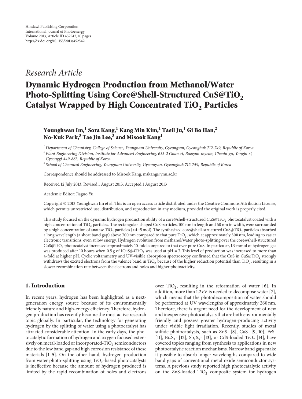 Dynamic Hydrogen Production from Methanol/Water Photo