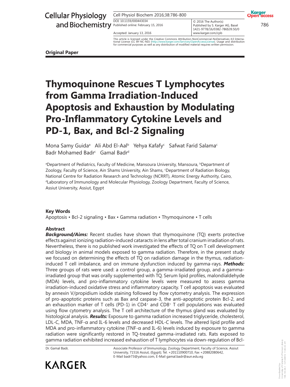 Thymoquinone Rescues T Lymphocytes from Gamma Irradiation