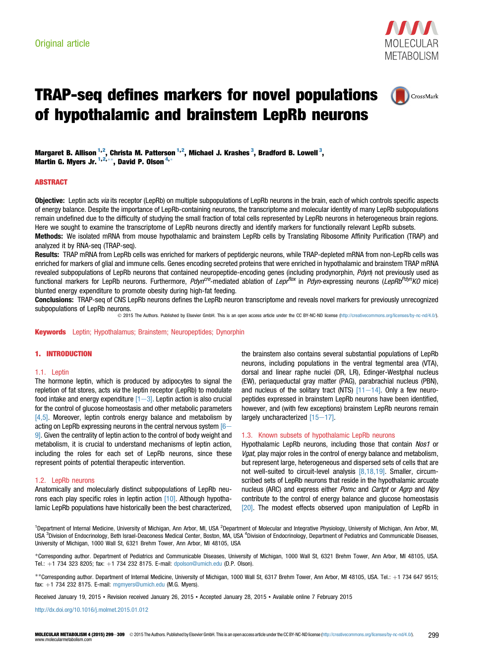 TRAP-seq defines markers for novel populations of