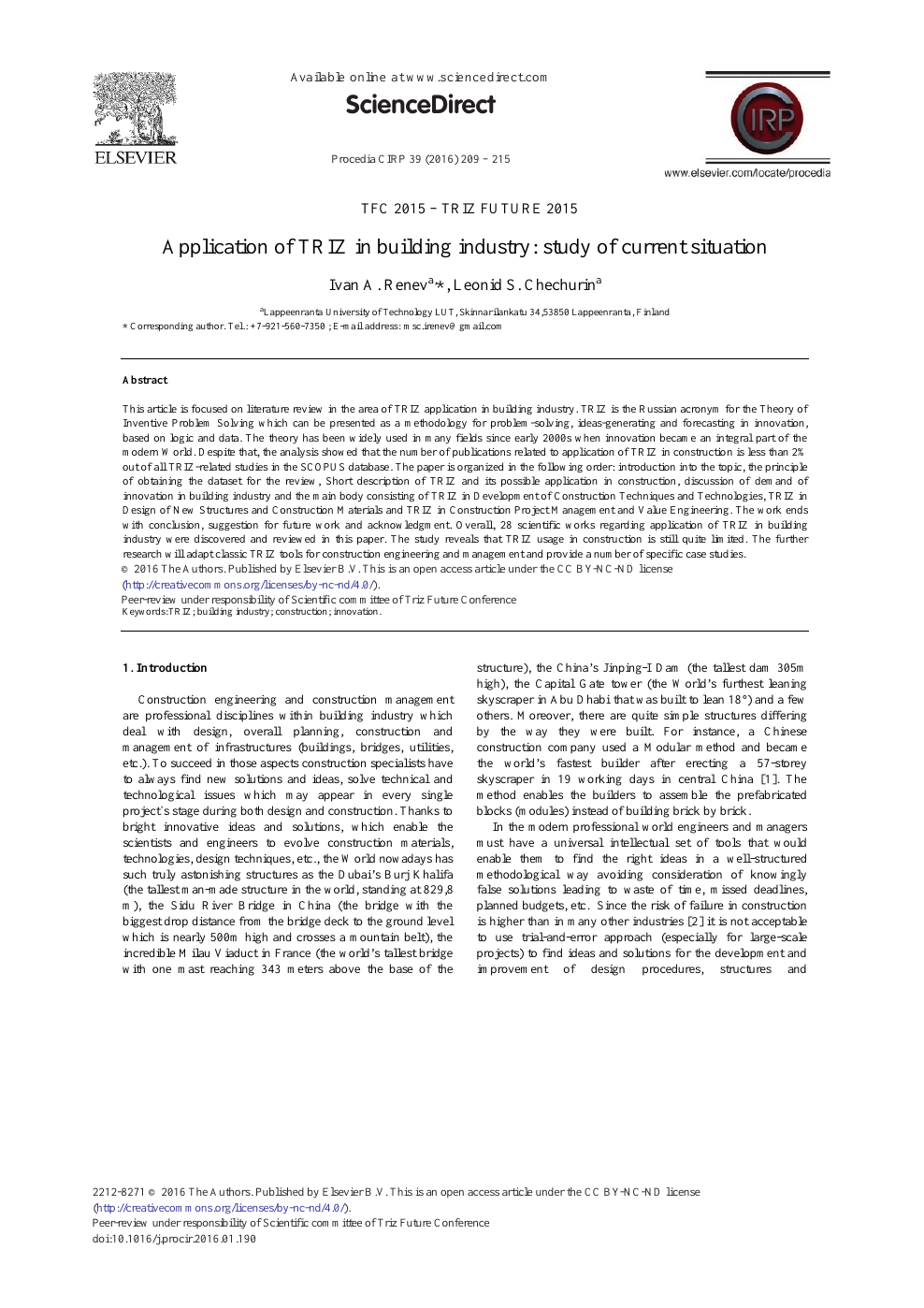 Application of TRIZ in Building Industry: Study of Current