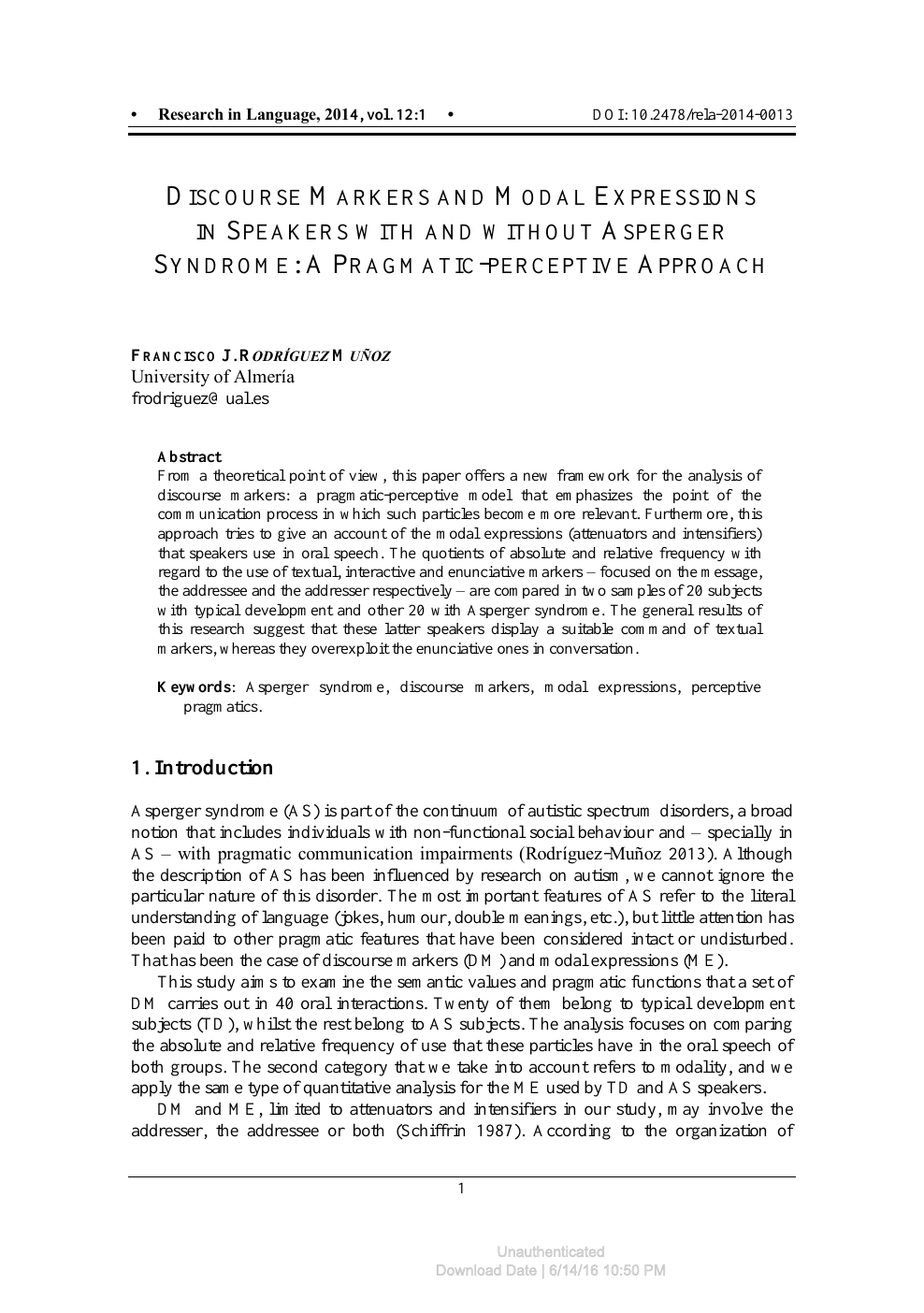 Discourse Markers And Modal Expressions In Speakers With And