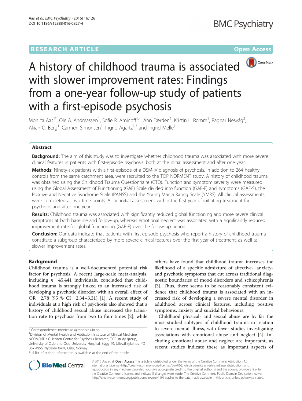 A history of childhood trauma is associated with slower improvement