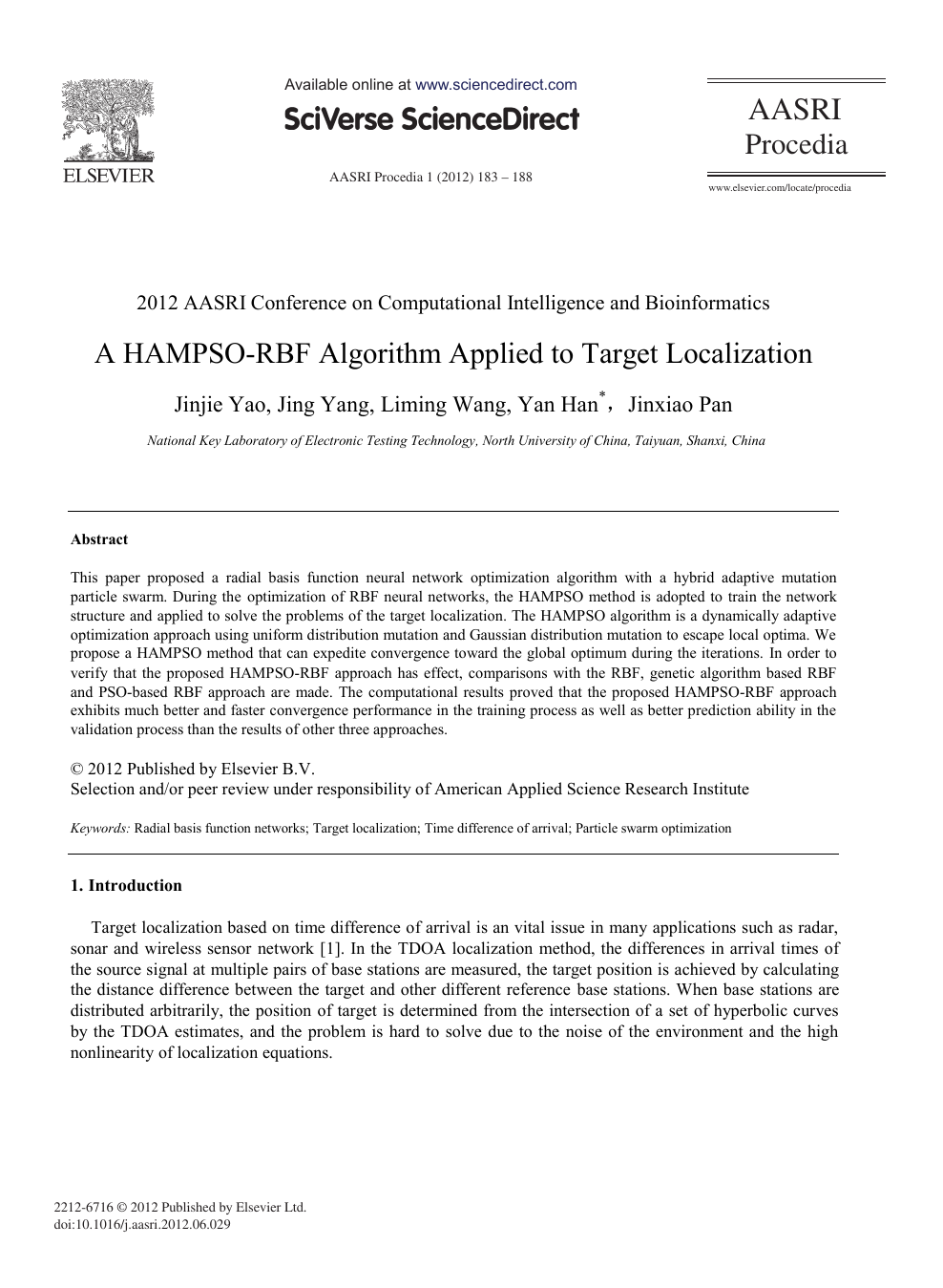 A HAMPSO-RBF Algorithm Applied to Target Localization
