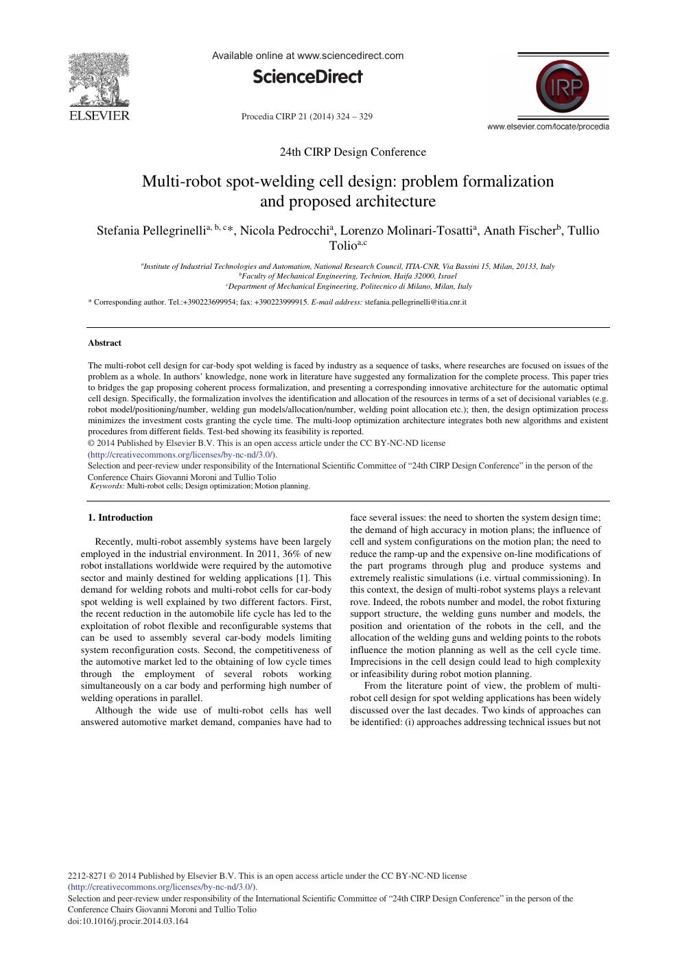 Multi-robot Spot-welding Cell Design: Problem Formalization