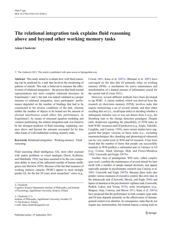 The relational integration task explains fluid reasoning