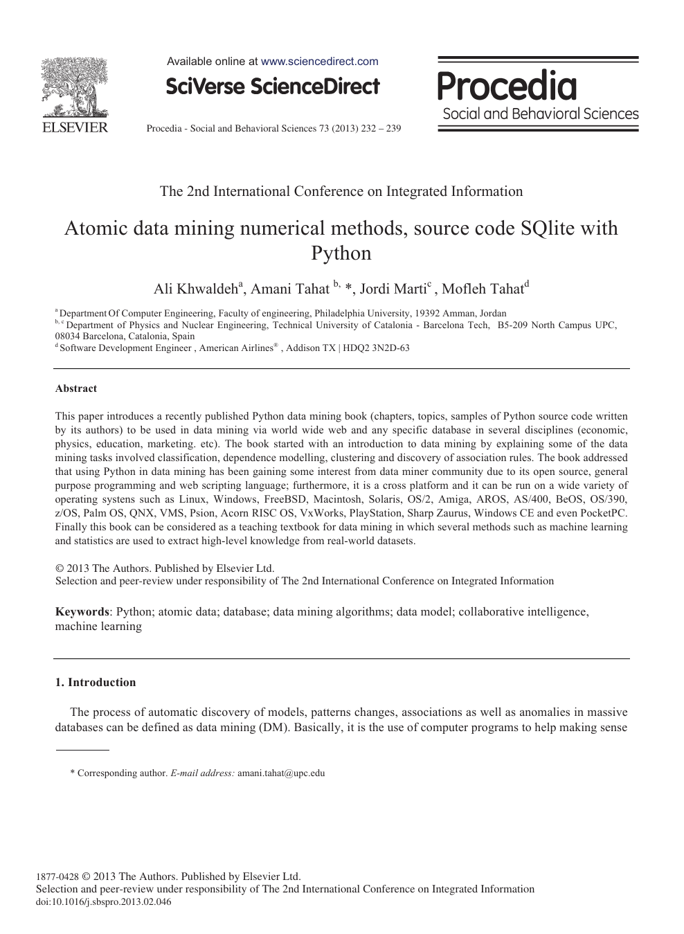 Atomic Data Mining Numerical Methods, Source Code SQlite with Python