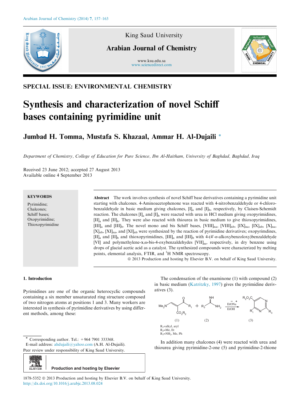 Synthesis and characterization of novel Schiff bases containing