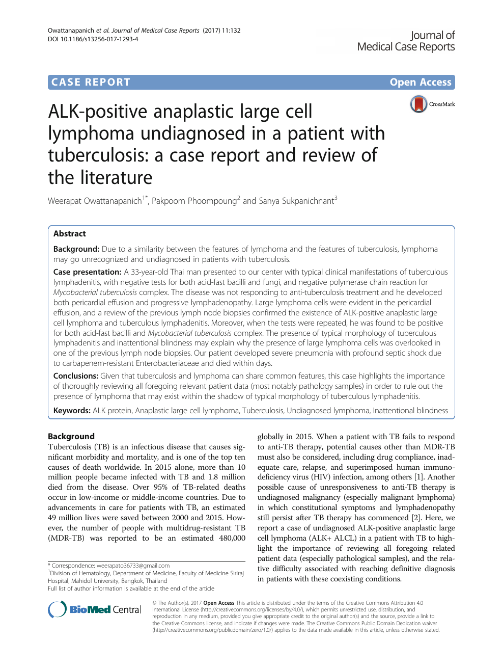 ALK-positive anaplastic large cell lymphoma undiagnosed in a