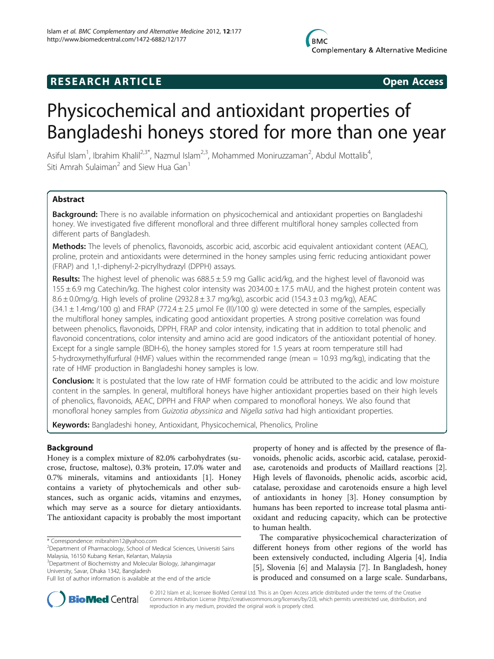 Physicochemical and antioxidant properties of Bangladeshi