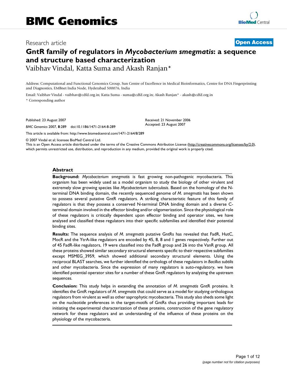 GntR family of regulators in Mycobacterium smegmatis: a