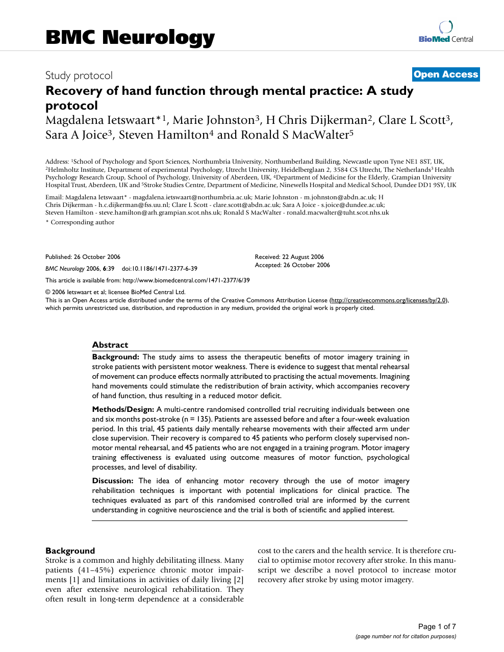 Recovery of hand function through mental practice: A study protocol