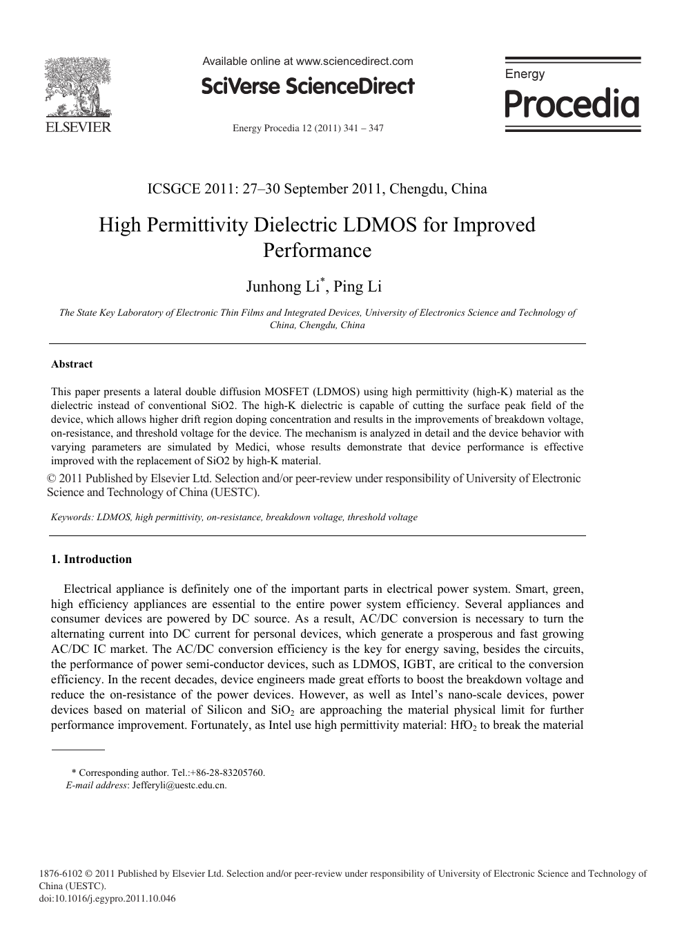 High Permittivity Dielectric LDMOS for Improved Performance – topic