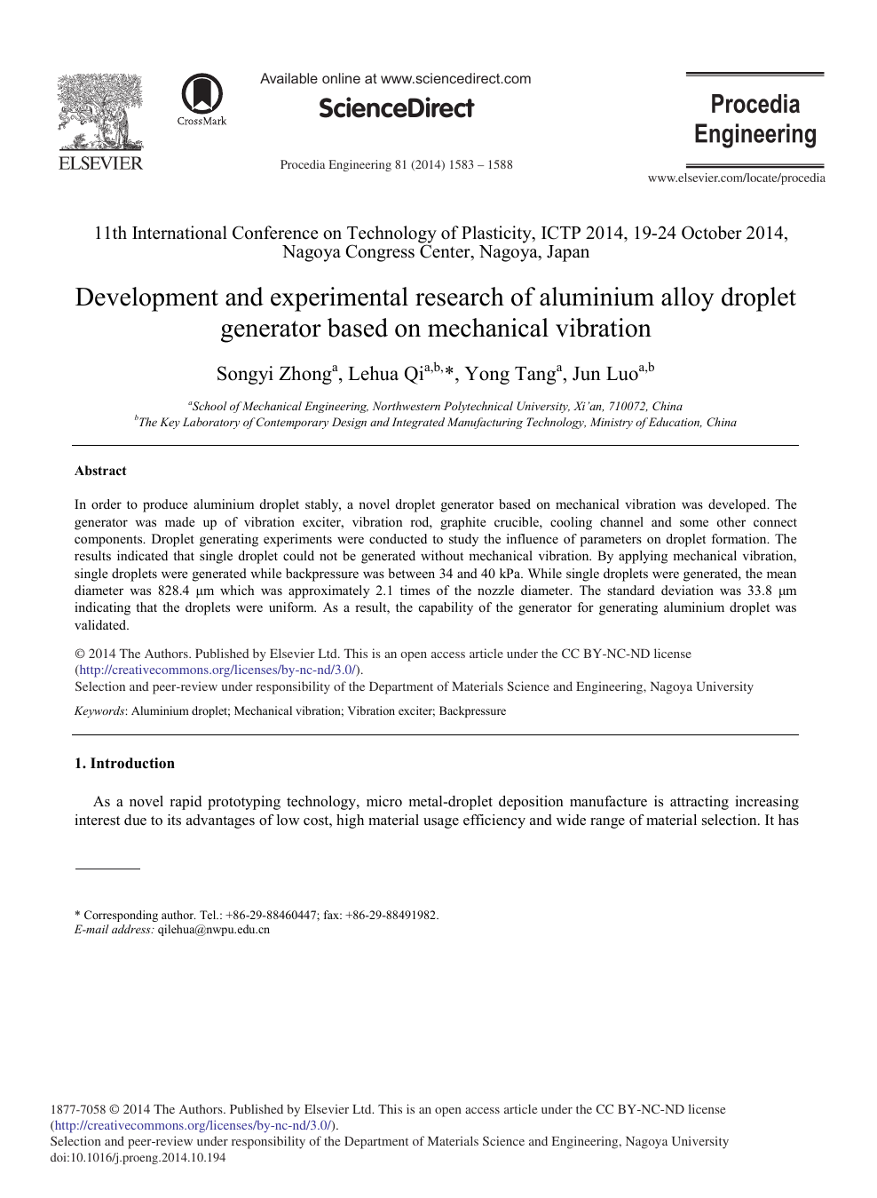 Development and Experimental Research of Aluminium Alloy