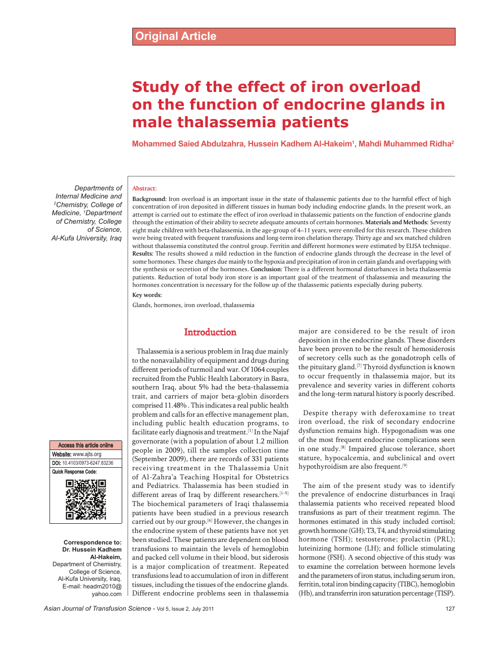 Study Of The Effect Of Iron Overload On The Function Of Endocrine
