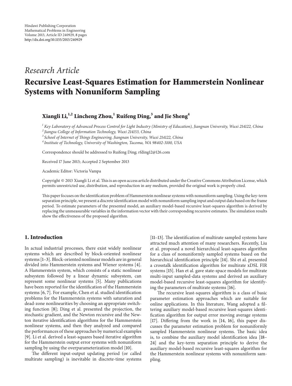 Recursive Least-Squares Estimation for Hammerstein Nonlinear