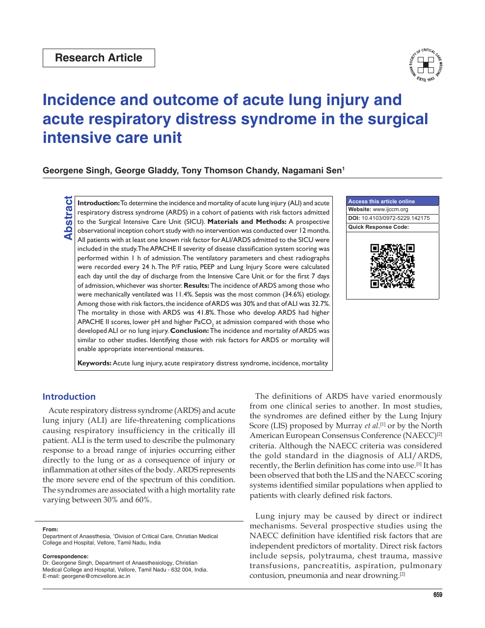 Incidence and outcome of acute lung injury and acute