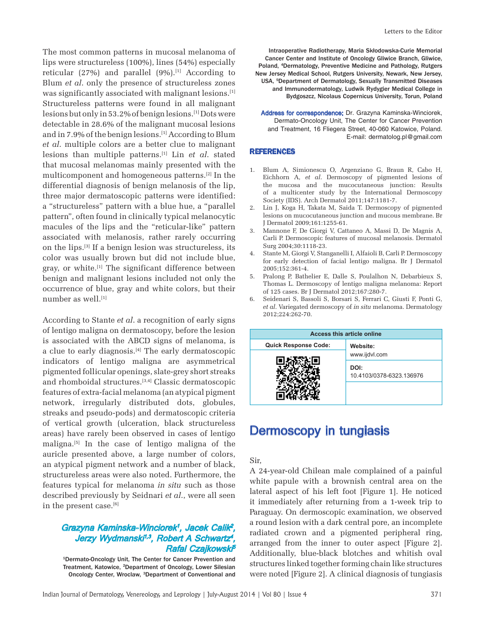 Dermoscopy in tungiasis – topic of research paper in