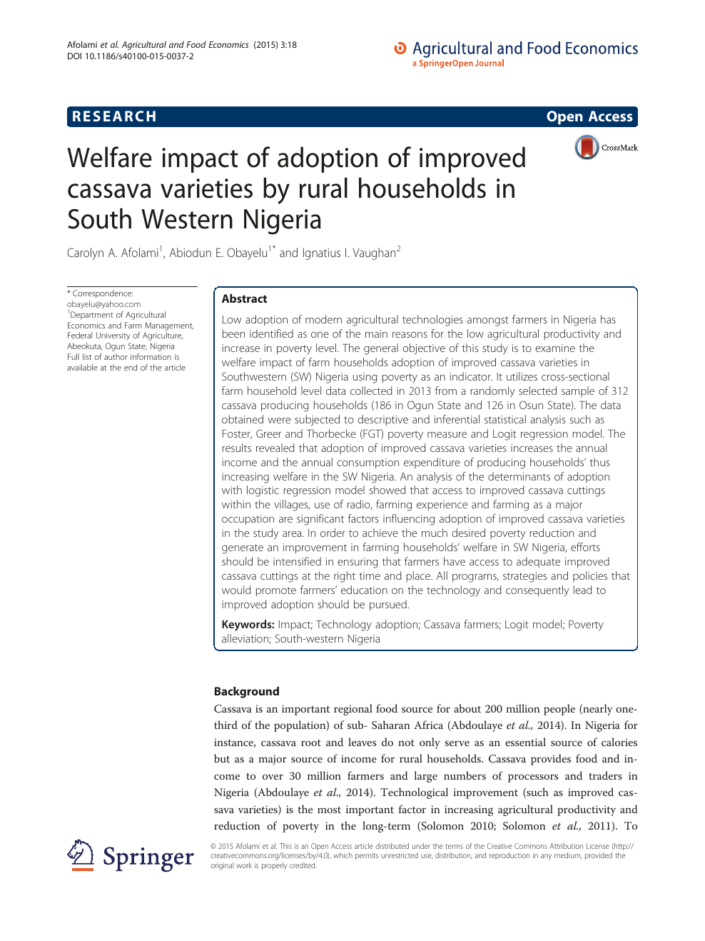 Welfare impact of adoption of improved cassava varieties by