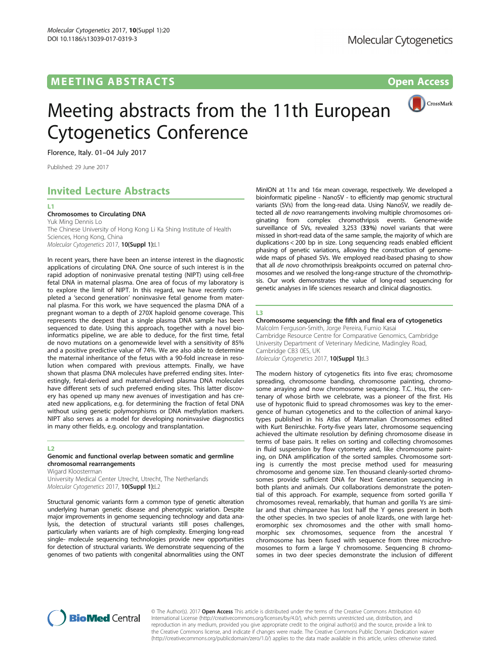 Meeting abstracts from the 11th European Cytogenetics