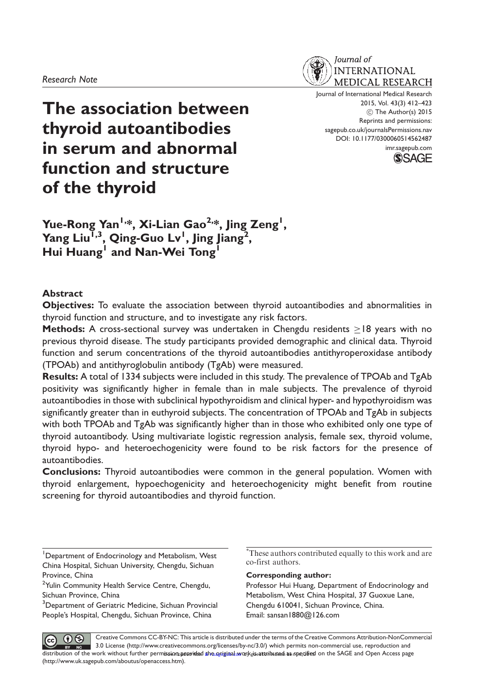 The association between thyroid autoantibodies in serum and