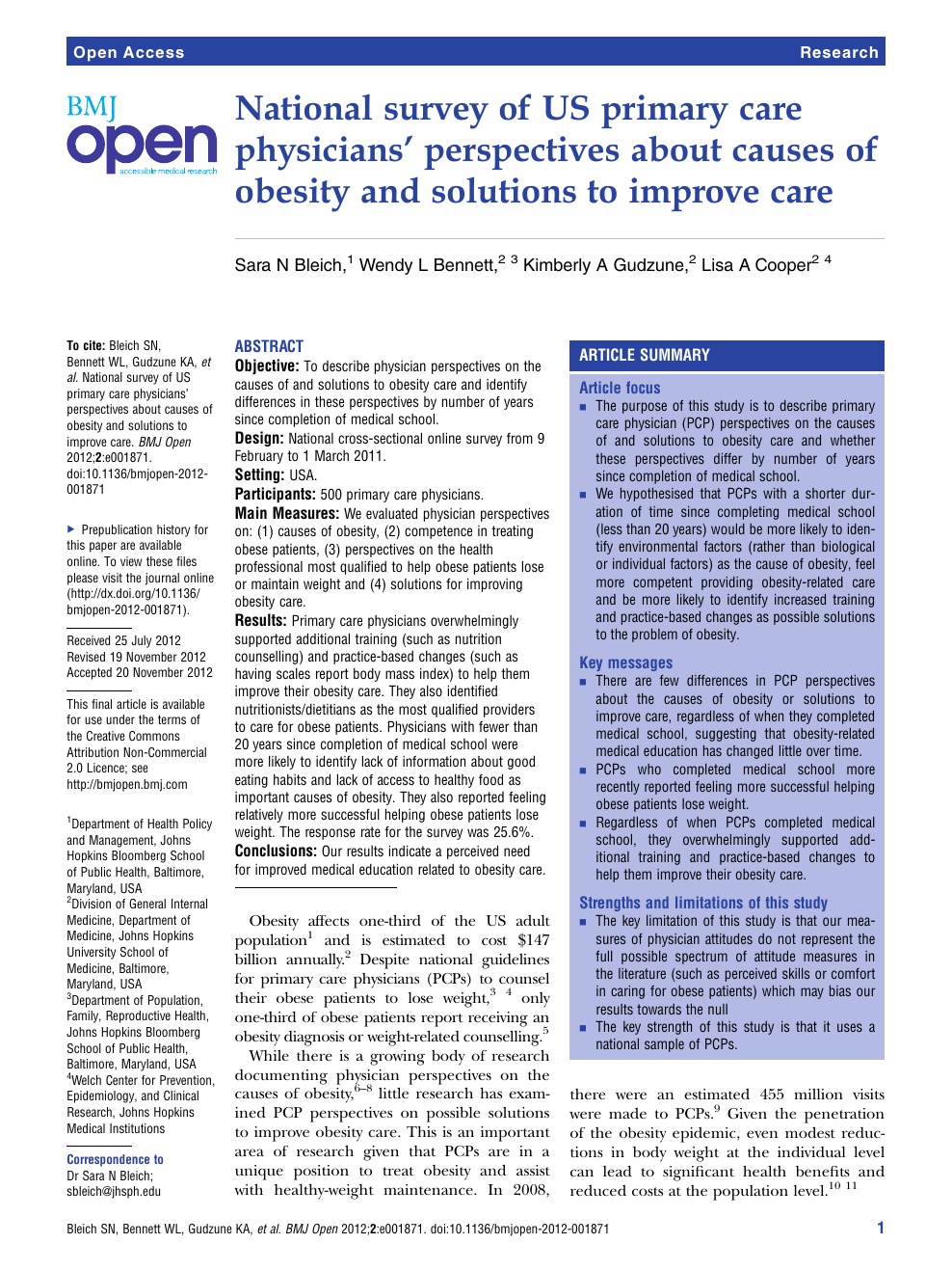 National Survey Of Us Primary Care Physicians Perspectives About Causes Of Obesity And Solutions To Improve Care Topic Of Research Paper In Health Sciences Download Scholarly Article Pdf And Read For