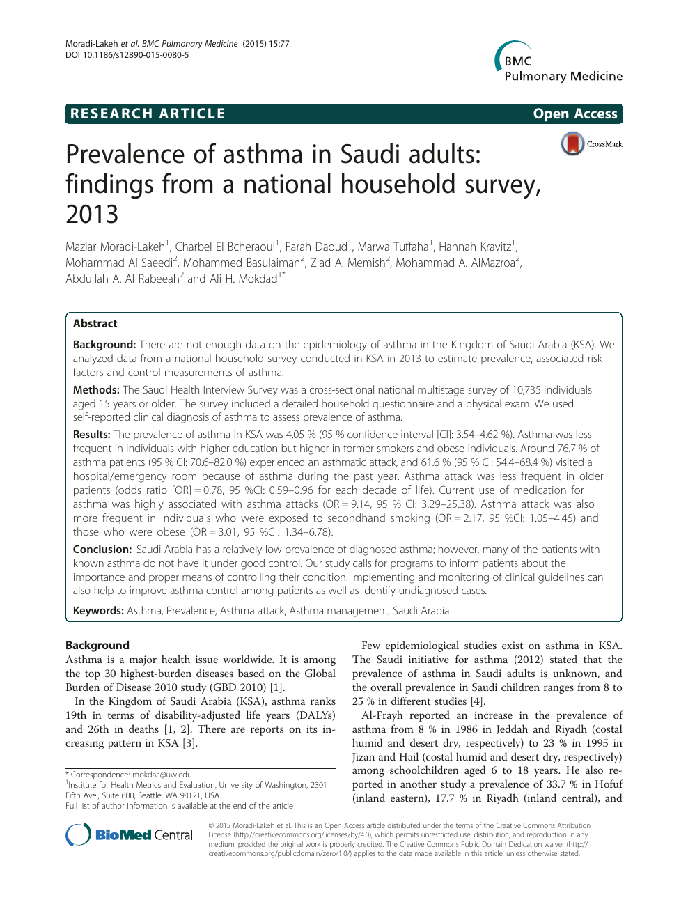 Prevalence of asthma in Saudi adults: findings from a national