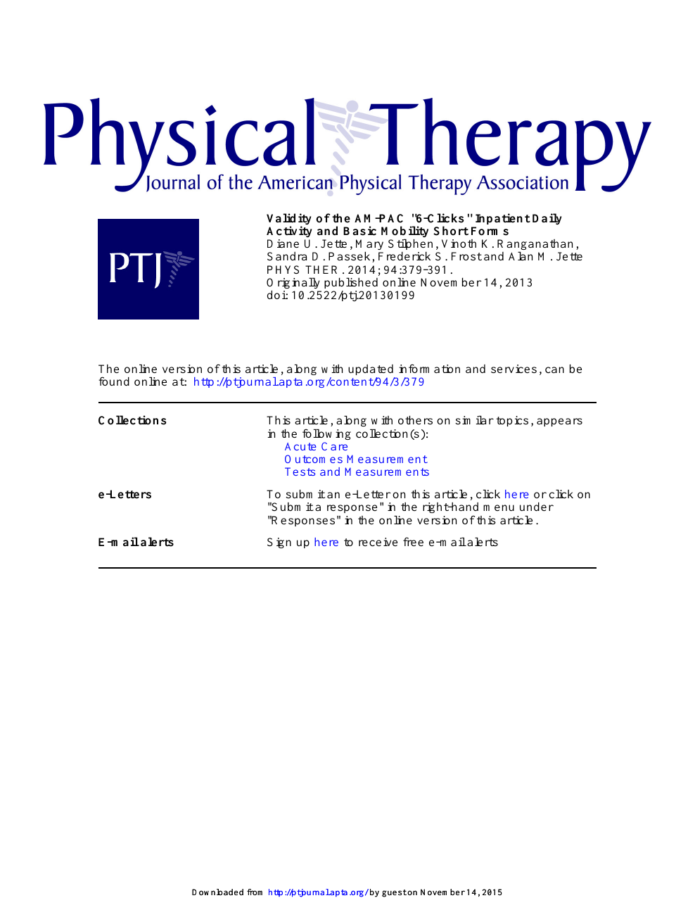 Validity Of The Am Pac 6 Clicks Inpatient Daily Activity And Basic