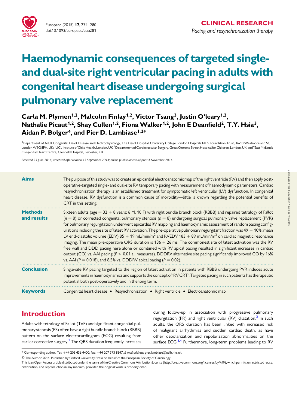 Haemodynamic consequences of targeted single- and dual-site right  ventricular pacing in adults with congenital heart disease undergoing  surgical pulmonary valve replacement – topic of research paper in Clinical  medicine. Download scholarly article