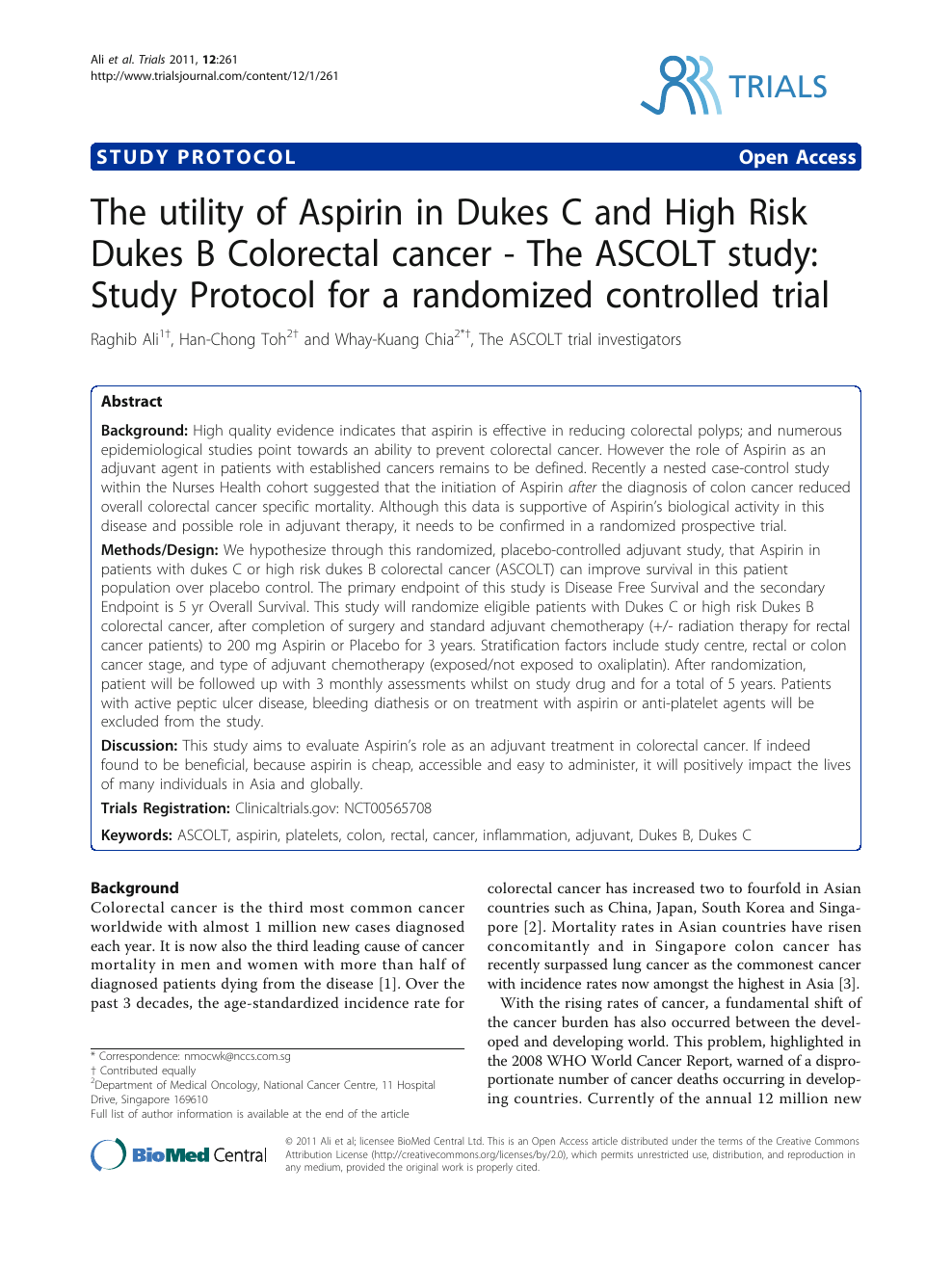 The utility of Aspirin in dukes C and high risk dukes B colorectal