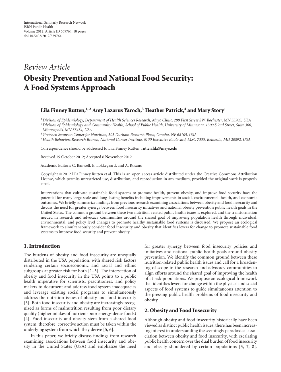 Obesity Prevention and National Food Security: A Food Systems