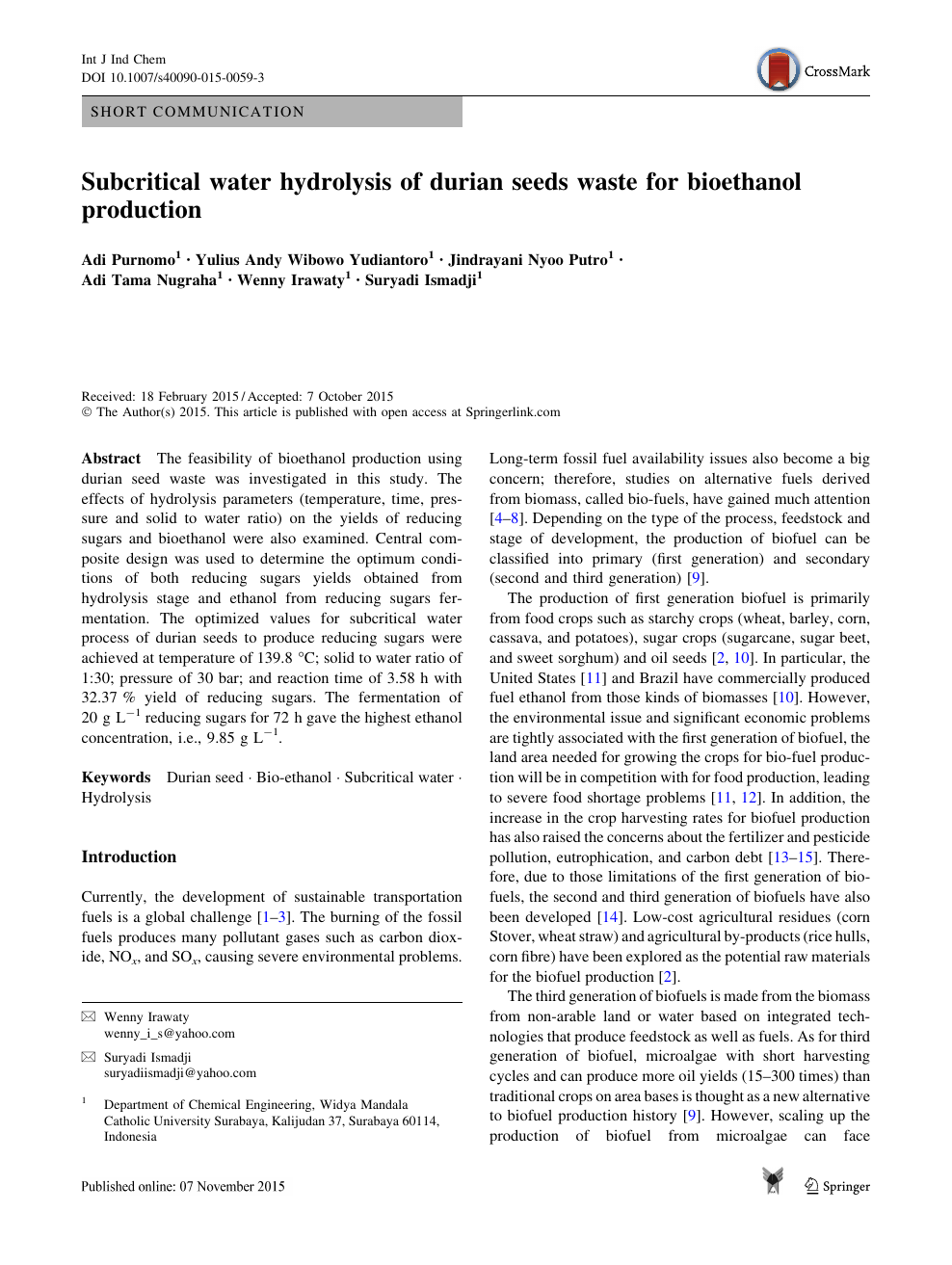 Subcritical water hydrolysis of durian seeds waste for bioethanol