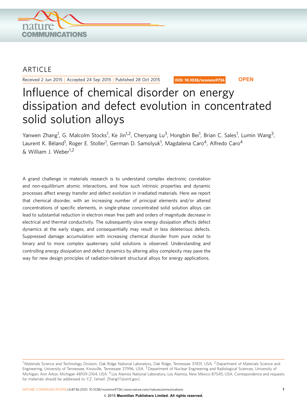 Influence of chemical disorder on energy dissipation and defect