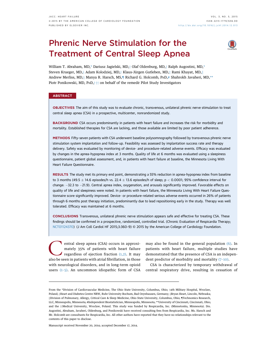 Phrenic Nerve Stimulation for the Treatment of Central Sleep