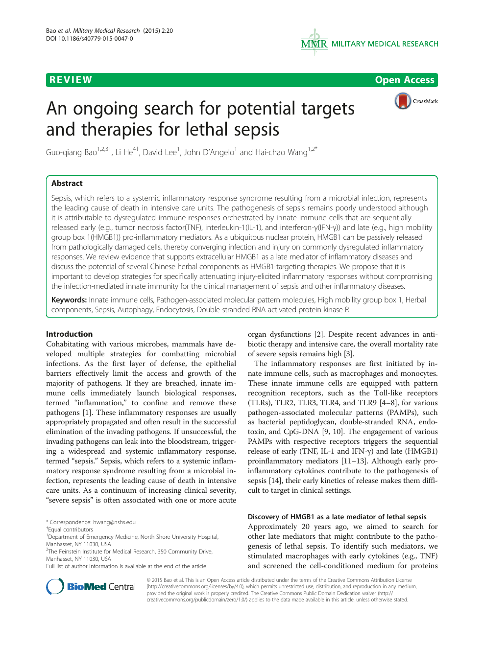 An ongoing search for potential targets and therapies for