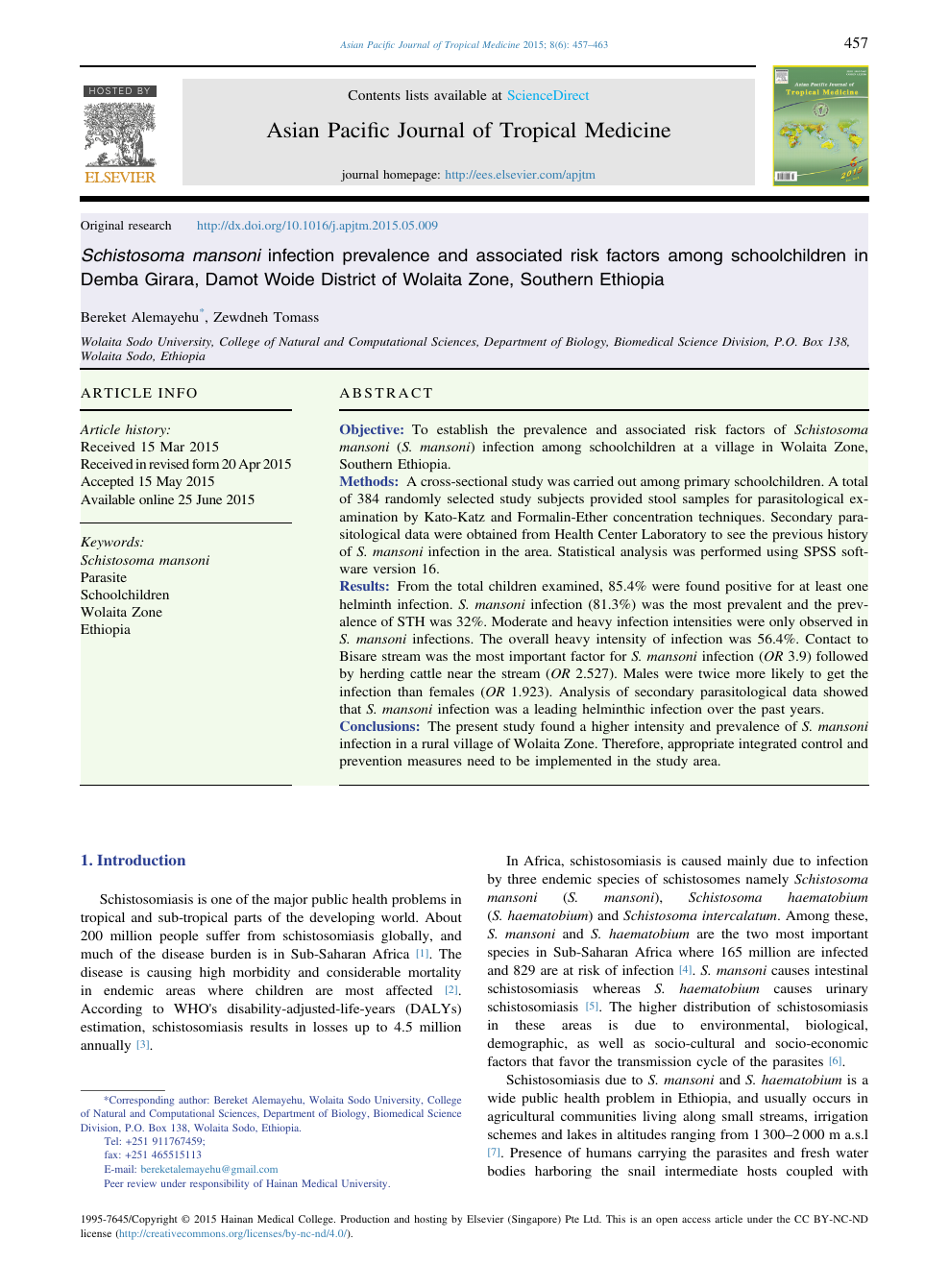 Schistosoma mansoni infection prevalence and associated risk