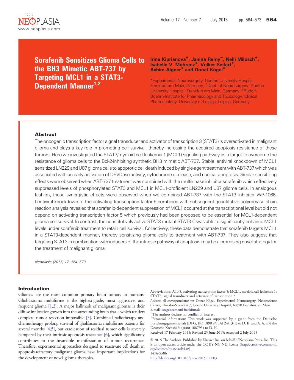 Genieße den kostenlosen Versand Neue Produkte Niedriger Verkaufspreis Sorafenib Sensitizes Glioma Cells to the BH3 Mimetic ABT-737 ...