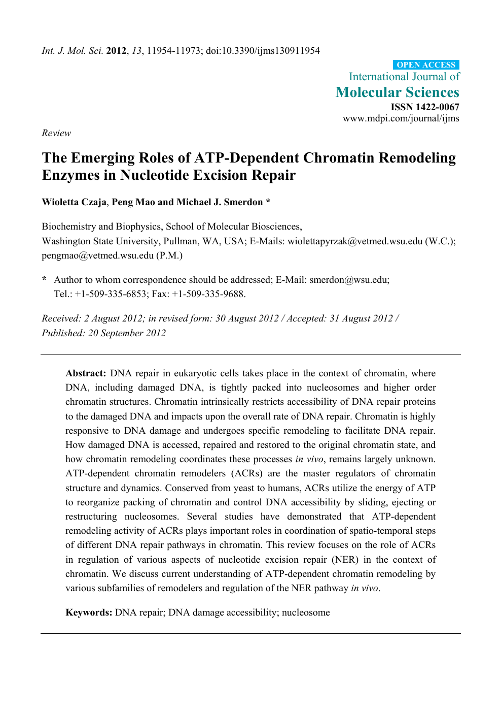 The Emerging Roles of ATP-Dependent Chromatin Remodeling
