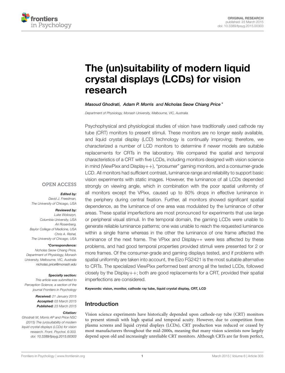 The (un)suitability of modern liquid crystal displays (LCDs