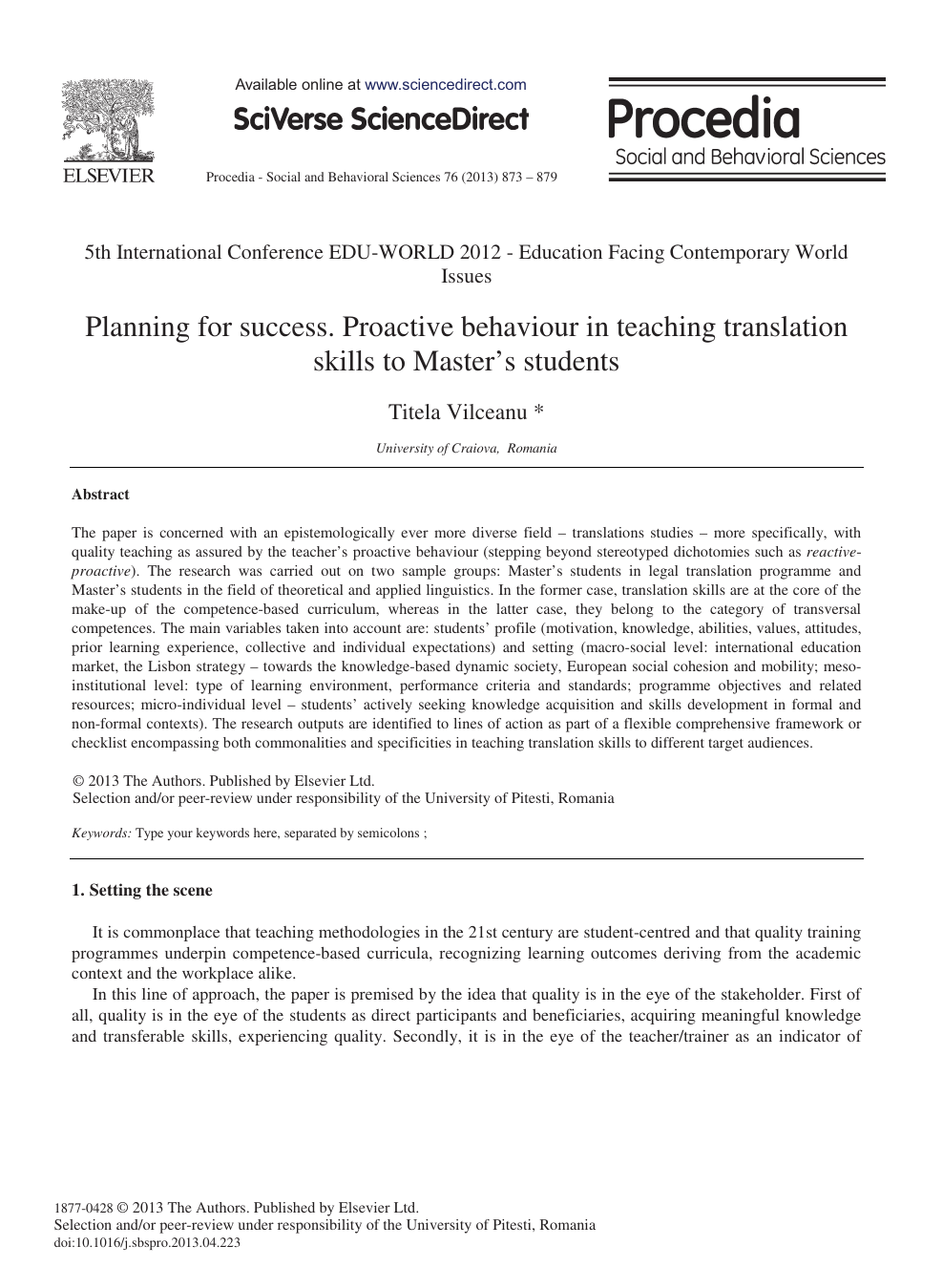 Planning for Success  Proactive Behaviour in Teaching Translation