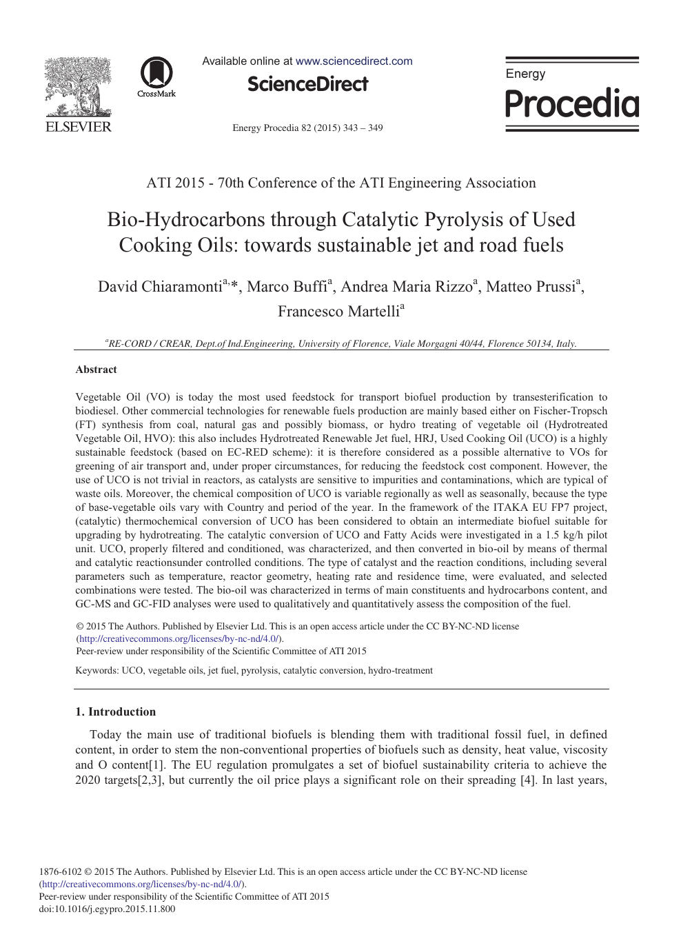 Bio-Hydrocarbons through Catalytic Pyrolysis of Used Cooking