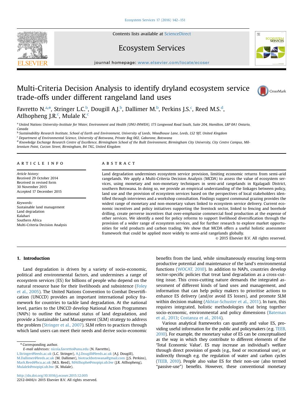 Multi-Criteria Decision Analysis to identify dryland